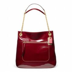 Coach Poppy Patent Leather Slim Tote Handbag Purse Crimson Red 21583 ** Check out the image by visiting the link.