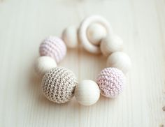 Teething toy Teether Wooden bead crochet toy Pale by SvetlanaN Bead Crochet, Crochet Toys, Teething Toys, Pink Beige, Wooden Beads, Pearl Earrings, Pastel, Unique Jewelry, Handmade Gifts