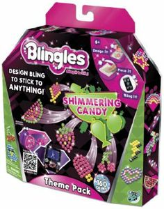 Blingles Theme Packs (One Supplied/styles Vary) by Character Options. $19.59. Add sparkle and bling to your world with the Blingles Theme Pack. Crystal Pets, Sparkling Princess or Shimmering Candy are the styles! With Blingles, create and design your own jeweled stickers that adhere to any smooth surface. Complete with bling, a special pen and mat to create the designs, transfer slides, glue roll and design templates, each Blingles theme pack includes materials t...
