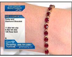 11.82ctwt Ruby & 0.49ctwt Diamond Round 14K Rose Gold Bracelet