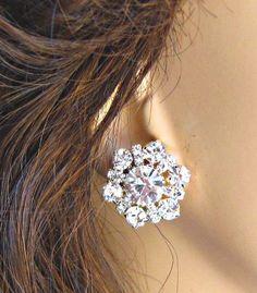 Wedding Earrings, Post Stud Earrings,Diamond Sparkle, Rhinestone Earrings, Diamond Sparkle collection. $20.00, via Etsy.