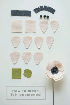 how to make a simple and beautiful felt anemone flower! All the petals you will need to make a darling felt anemone!All the petals you will need to make a darling felt anemone! Handmade Flowers, Diy Flowers, Fabric Flowers, Paper Flowers, Felt Flowers Patterns, Felted Flowers, Felt Roses, Origami Flowers, Fleurs Diy