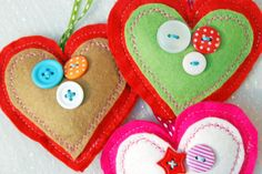 Christmas felt crafts | Three Felt Heart Decorations. Christmas Decoration. Happy Christmas to ...