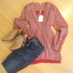 Free People flowing top with draw string back Perfect fall free people flowy top. Jeans and shoes not included. no trades. multiple sizes available Free People Tops