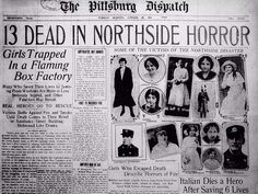 Historical fire in box factory in Pittsburgh, 13 girls died.