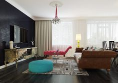 Apartment: Living Room Dark Accent Wall As Well As Blue Round Puffy Sofa Alsoo Vintage Cabinet Design Ideas: Modern Pop Art Style Apartment:...