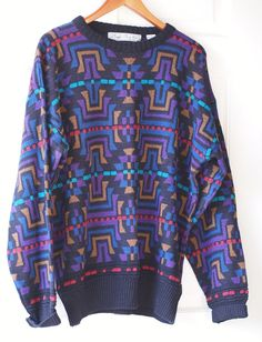 Bill Crosby is back!!     Rare Vintage 80s Hipster Bugle Boy Co Geometric Print Sweater  by District Vintage LA, $20.00