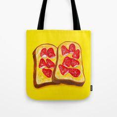 Strawberry Toast Tote Bag by Shihotana