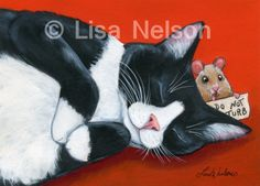 Do+Not+Turb+Tuxedo+Cat+and+Little+Mouse+Fine+by+BucksCountyDesigns,+$15.00
