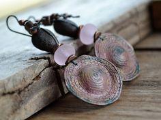 Rustic pink lampwork polymer tribal earrings by JeSoulStudio, $44.00