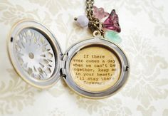 Women's Locket - Friendship Jewelry - Winnie the Pooh Quote - If there ever comes a day when we can't be together, keep me in your heart. $34.00, via Etsy.