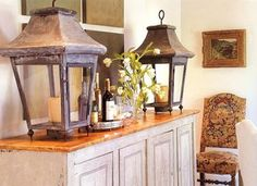 Use lanterns to make an impressive entryway. Create a French farmhouse aesthetic with antique lanterns. Antique Lanterns, Candle Lanterns, French Country Decorating, My Dream Home, Design Elements, Light Fixtures, Home Accessories, Sweet Home, Cote De Texas