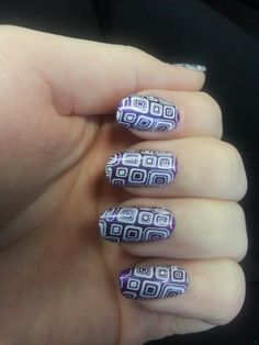 purple with white nail stamp