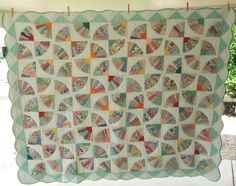 Vintage Fan Quilt on Green Hand Pieced Hand Stitched Great Fabrics 66 x 80   eBay