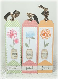 Posh Posies Bookmarks by CharmWarm - Cards and Paper Crafts at Splitcoaststampers Homemade Bookmarks, How To Make Bookmarks, Paper Bookmarks, Ribbon Bookmarks, Book Crafts, Paper Crafts, Jw Gifts, Birthday Tags, Book Markers