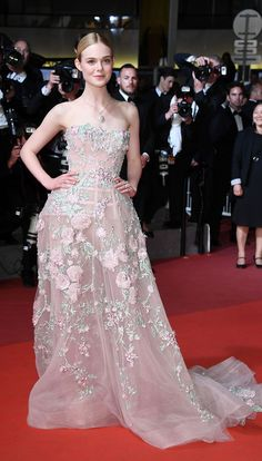 All the Glamour, Glitz and Gowns from the Cannes 2016 Red Carpet | People - Elle Fanning in a blush pink Zuhair Murad dress