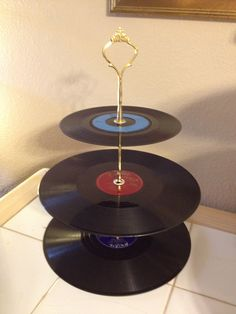 Tiered Cake Stand using Vintage Records by ARTbyFREEDA on Etsy, $45.00
