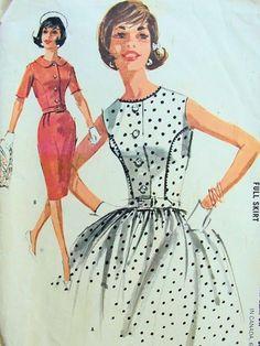 1960s LOVELY SLIM or FULL SKIRTED DRESS PATTERN VERY MAD MEN, PRETTY DETAILS McCALLS PATTERNS 6358
