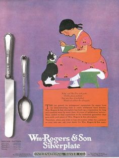 Cats in Art, Illustration and Advertising: Wm Rogers & Son Cutlery vintage advertising poster (1920s)