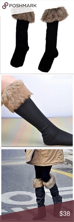 NWT Fur Boot Cuffs NWT fluffy faux fur fleece stretch boot cuffs/leg warmers, can be worn with tall or ankle boots, Accessories Hosiery & Socks