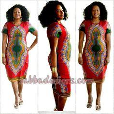 Alaya African Print Dashiki Midi Dress