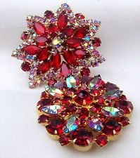 Lot of 2 Vintage Quality Red & Aurora Borealis Red Rhinestone Brooch Pin