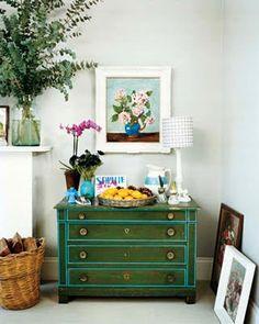 Vintage dresser in emerald green wash + aqua trim