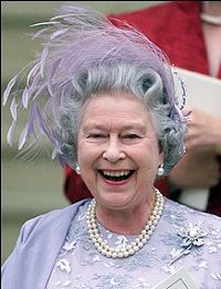 E II R. At her youngest sons wedding she wears the most historic pearls in the Royal collection and the Cartier brooch designed to hold one of her wedding presents the 23.6 Williamson diamond..the worlds largest flawless pink diamond.