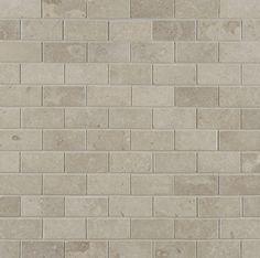 "ANN SACKS Pewter 1"" x 2"" offset limestone mosaic in honed finish"