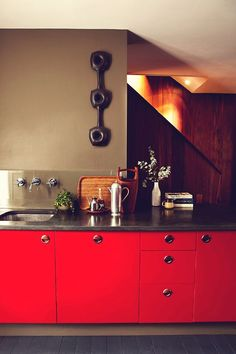 Red cabinets #kitchens