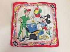 VTG Walt Disney Childs Souvenir Handkerchief Peter Pan Mickey Mouse Pirate Hanky #Disney
