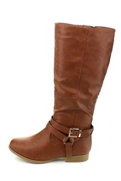 """These riding style equestrian boots are chic yet casual. And the low flat heels of these boots offer function and comfort. Featuring faux leather upper, side zipper closures for easy on-and-off wear, round toe fronts, gold buckle and strap details Shaft measures approximately 16 from arch Platform measures approximately 0.25"""" Platform; 1.25"""" Heel Color: Tan   Land Riding Boot by Top Moda. Shoes - Boots California"""