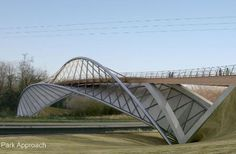 Photo by Kyle Emmerson Bridge Structure, Bridge Design, Pedestrian Bridge, Santiago Calatrava, Salon Design, Covered Bridges, Urban Planning, Pavilion, Paths