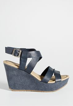 blair fabric and faux leather wedge in navy (original price, $39) available at #Maurices