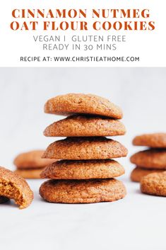 A delicious 30 minute Vegan Cinnamon Nutmeg Oat Flour Cookie recipe that is gluten and dairy free! These cookies are soft, chewy and perfect for the fall season thanks to the cinnamon and nutmeg. Cookies Sans Gluten, Dessert Sans Gluten, Bon Dessert, Gluten Free Cookie Recipes, Gluten Free Baking, Gluten Free Desserts, Vegan Desserts, Oat Flour Recipes, Oats Recipes