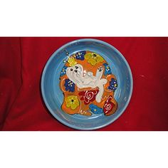 """Dog Bowl, 8"""" Dog Bowl for Food or Water. Personalized at no Charge. Signed by Artist, Debby Carman. ~~ For you to view further for this item, visit the image link. (This is an affiliate link and I receive a commission for the sales)"""