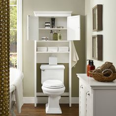 Crosley Lydia Over-Toilet Space Saver Cabinet White Wood w/ Louvered Doors Space Saving Bathroom, Small Bathroom, Bathroom Ideas, Bathtub Ideas, Bathroom Art, Shower Ideas, Bathroom Organisation, Bathroom Storage, Bathroom Shelves Over Toilet
