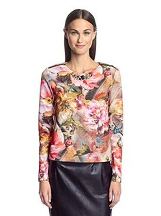 Sfizio Women's Top with Embellished Neck (Floral)