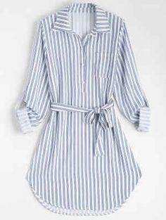 Stripe Fall and Spring Yes Striped Long Shirt Knee-Length Straight Causal and Going Casual Belted Striped Long Sleeve Shirt Dress Striped Long Sleeve Shirt, Long Sleeve Shirt Dress, Long Sleeve Shirts, Dress Long, Girls Fashion Clothes, Fashion Dresses, Clothes For Women, Hijab Look, Diy Vetement