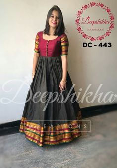 Red & Black Bandhej Anarkali with Black Gota Jaal Dupatta – Aachho Red Black bandhej Anarkali adorned with Gota Detailing. Set Comes with the beautiful Black Gota jaalDupatta. Salwar Designs, Lehenga Designs, Kurta Designs Women, Kurti Designs Party Wear, Saree Blouse Designs, Kalamkari Dresses, Ikkat Dresses, Long Dress Design, Dress Neck Designs