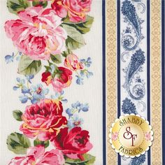 American Bouquet 5203-0111 By Faye Burgos For Marcus Fabrics: American Bouquet is a summer floral collection by Faye Burgos for Marcus Brothers. This fabric features a floral border stripe fabric with roses and paisleys on a cream background. Each stripe measures approximately 8