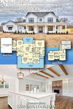 The wall with a fire place instead of in the front of the house. 2700 sq ft Switch kitchen/nook Use dining as playroom Architectural Designs Farmhouse Plan client-built in Mississippi!