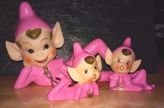 Rare Set of 3 Vintage Pixies Elves Ceramic Figurines Japan Pink w/chain | eBay