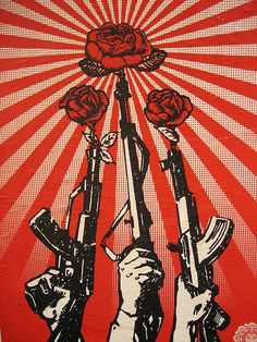 Shepard Fairey (Obey) is part of Obey art Guns and Roses, 2007 Screenprint 55 x 42 cm - Protest Kunst, Protest Art, Art Pop, Graffiti, Art Obey, Obey Artist, Shepard Fairey Obey, Urbane Kunst, Propaganda Art