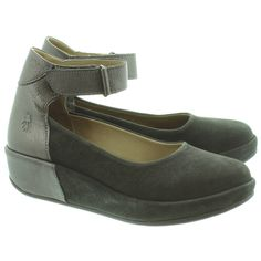 Fly London Bana Ankle Strap Shoes In Black And Pewter in Black Pewter Fly London, Ankle Strap Shoes, Pewter, Wedges, Sneakers, Shopping, Black, Fashion, Tin