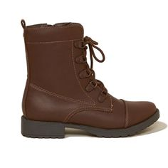 Hollister Vegan Leather Combat Boot ($50) ❤ liked on Polyvore featuring shoes, boots, ankle booties, brown, brown ankle booties, brown lace up boots, brown booties, army boots and brown military boots