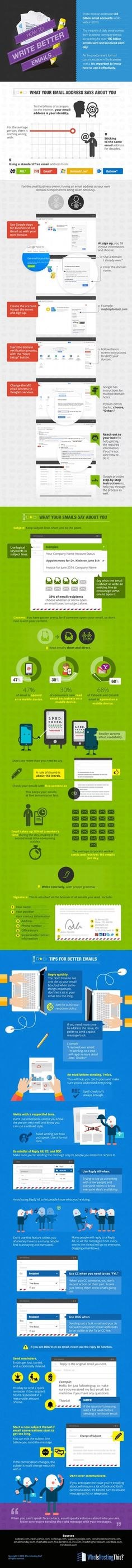 How to Write Better Emails (Infographic) - Email Marketing - Start your email marketing Now. - How to Write Better Emails (Infographic) Inbound Marketing, Marketing Digital, Internet Marketing, Online Marketing, Social Media Marketing, Marketing Tactics, Marketing Ideas, Content Marketing, Business Emails