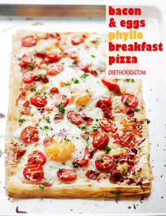 Bacon and Eggs Phyllo Breakfast Pizza – Crispy bacon, soft eggs and ...