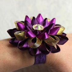 Purple And Gold Wedding, Purple Wedding Flowers, Gold Flowers, Purple Gold, Dark Purple, Real Flowers, Paper Flowers, Beautiful Flowers, Bridesmaid Corsage
