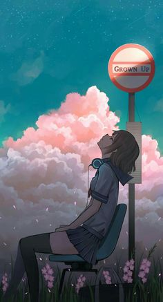 Anime Girl Headphones Headup Bus Stop Mobile Wallpaper (iPhone, Android, Samsung, Pixel, Xiaomi) Anime Scenery Wallpaper, Aesthetic Pastel Wallpaper, Iphone Wallpaper, 1080p Wallpaper, Mobile Wallpaper, Anime Couples Manga, Manga Anime, Disney Princess Paintings, Anime Places